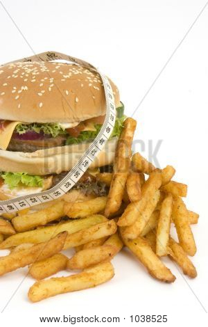 Isolated Huge Burger Owith Tape