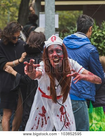 People Take Part In The Zombie Walk In Milan, Italy