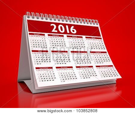 Desktop Red Calendar 2016