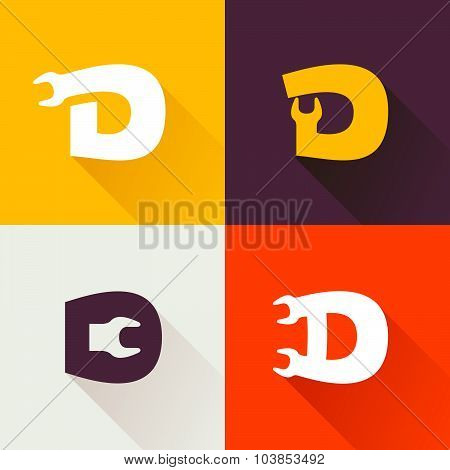 D Letter With Wrench Logo Set.