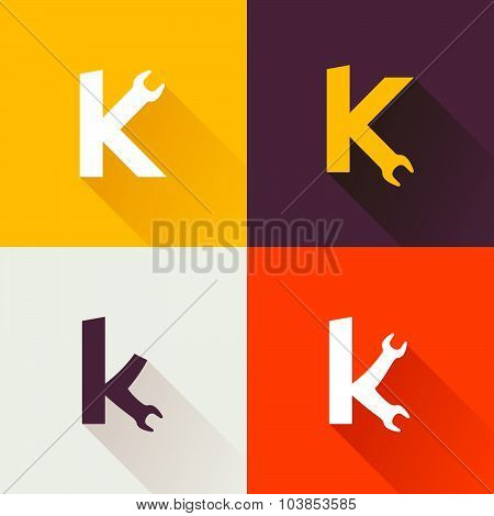 K Letter With Wrench Logo Set.