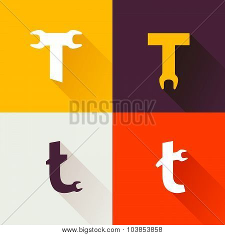 T Letter With Wrench Logo Set.