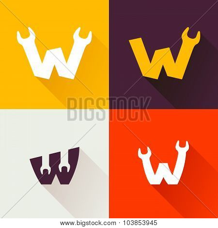 W Letter With Wrench Logo Set.