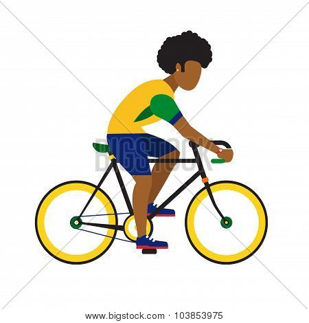 black man ride by road bicycle.  Cycling sport vector flat illustration.