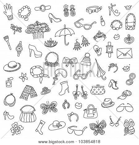 The vector set of female accessories