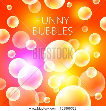 Abstract Soap Bubbles Vector Background. Transparent Circle, Sphere Ball, Water Sea And Ocean Patter