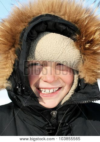 Kid Portrait In The Winter