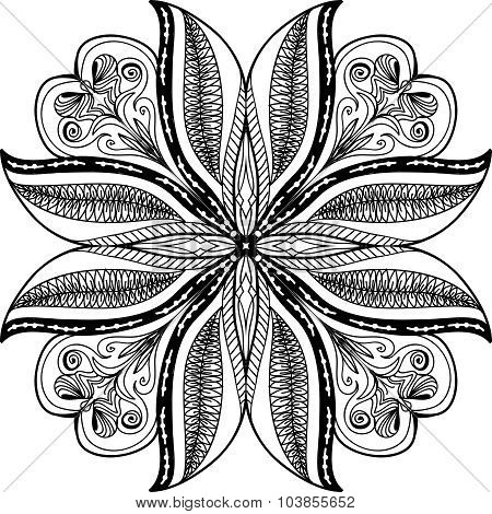 Seamless Abstract Black and White Tribal Pattern. Hand Drawn Ethnic Texture.