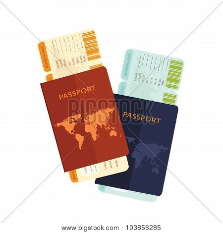Passport With  Airline Boarding Pass Ticket .