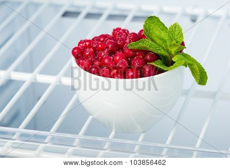 Frozen Red Currants In The Freezer
