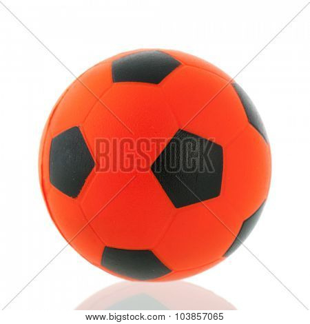 Orange Dutch soccer ball isolated over white background