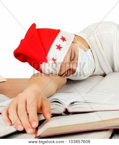 Sick Student In Santa Hat