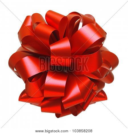 Red ribbon bow isolated on white background. Christmas decoration.
