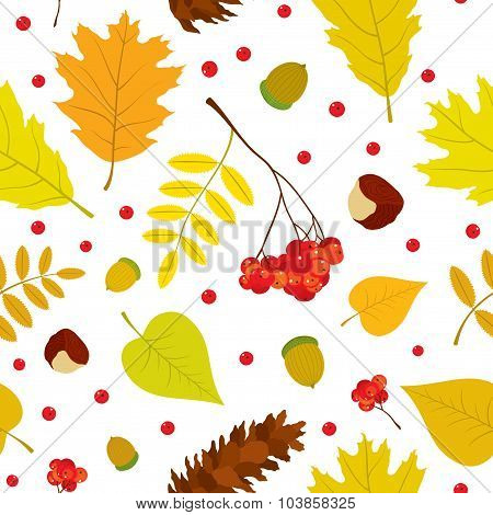 Autumn forest seamless pattern with rowan berries, leaves, acorn, chestnut, pine cone.