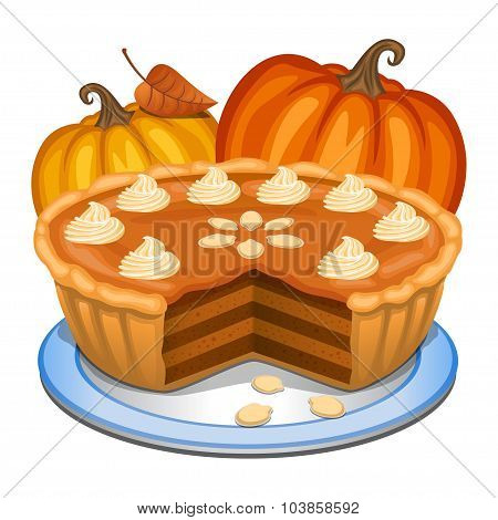 Pumpkin Pie With White Creme And Orange Pumpkin, Pumpkin Pie For Thanksgiving. Vector Illustration.
