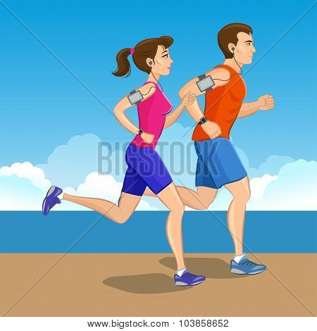 Illustration Of A Runners - Couple Running, Health Conscious Concept. Sporty Woman And Man Jogging.