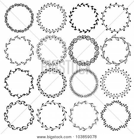 Collection set of vintage hand drawn ornamental decorative circle frames borders. Vector