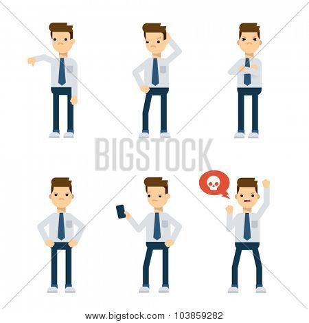 Set of vector flat style characters: office guy being upset.