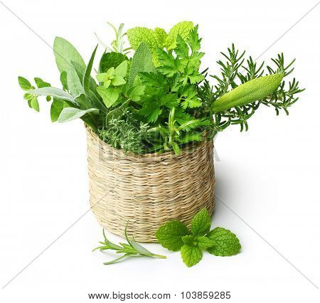 Fresh spices herbs in straw basket isolated on white background