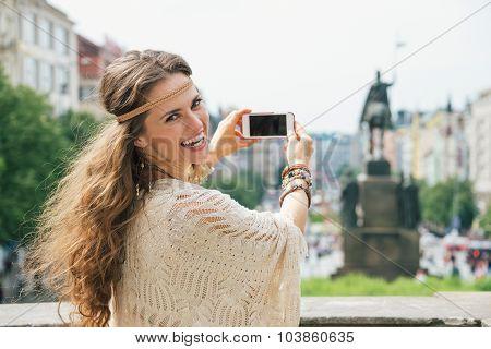 Trendy Hippie Woman Tourist Taking Photo On Mobile In Prague