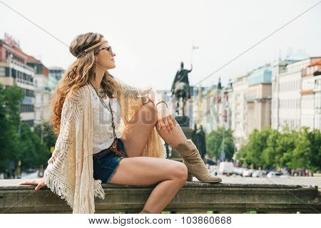 Young Hippy-looking Woman Tourist Enjoying Sightseeing In Prague
