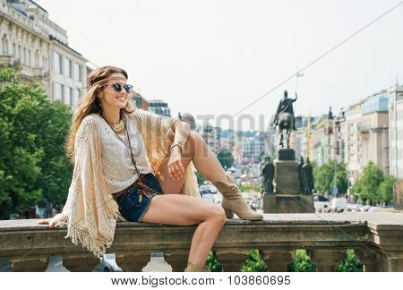 Happy Bohemian Woman Tourist Enjoying Sightseeing In Prague