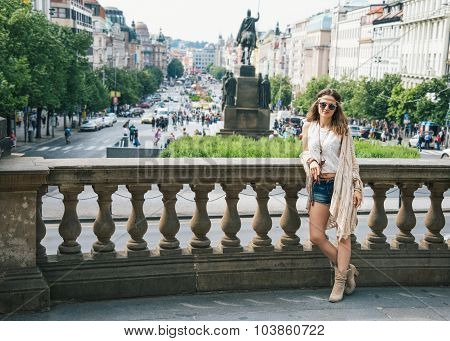 Woman Tourist In Boho Chic Clothes Standing On Wenceslas Square