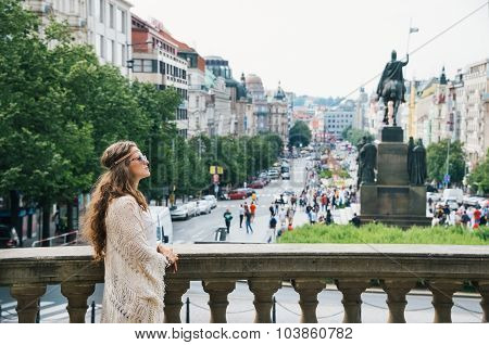 Bohemian Woman Tourist Sightseeing On Wenceslas Square In Prague
