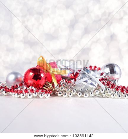 Silver And Red Christmas Decorations