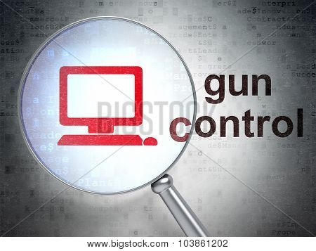 Security concept: Computer Pc and Gun Control with optical glass