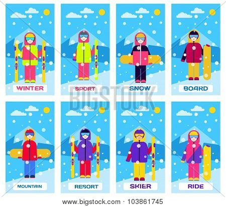 People in suits with skis and snowboards. Set of vector illustrations.