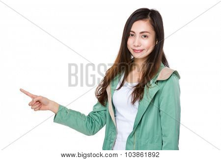 Asian woman showing finger point up