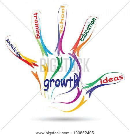 Concept or conceptual education hand print colorful word cloud isolated on white background