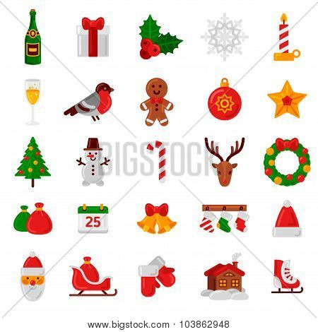 Set of Flat Christmas Icons. Holiday Signs and Symbols.