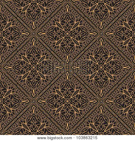 Rich Decorated Calligraphic Outlined Stroke Seamless Pattern In Dark And Gold Gamma.
