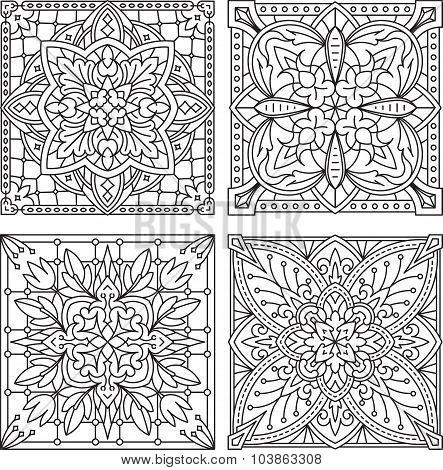 Set Of 4 Abstract Vector Black Square Lace Designs In Mono Line Style - Mandala, Ethnic Decorative E