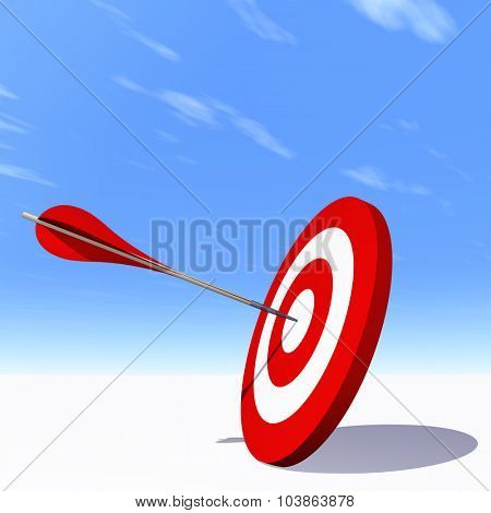 Concept or conceptual red dart target board with arrow in the center on clouds sky background