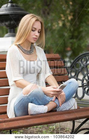 smart professional woman reading using phone.