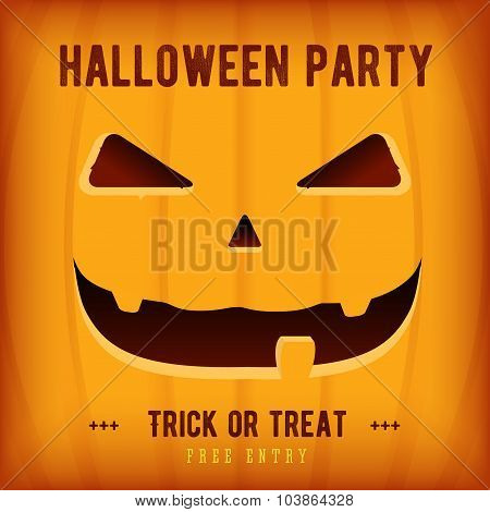 Halloween Party Poster Design template with orange pumpkin