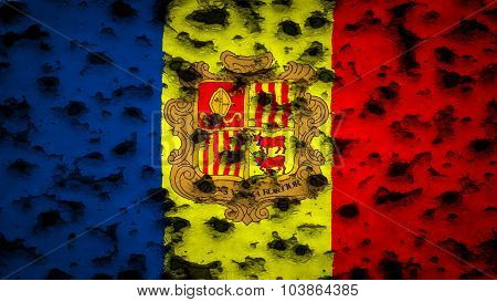Flag of Andorra painted on wall with bullet holes