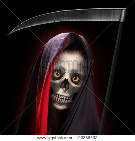 Portrait of death. Grim reaper working every day.