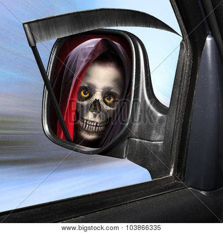 Rear view mirror reflecting Grim Reaper. Road safety theme.