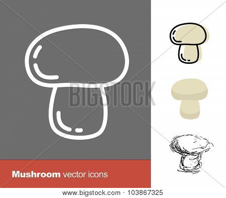 Mushroom vector icons. Thin line, flat, and hand drawn styles