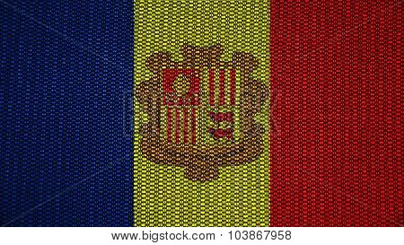 Flag of Andorra painted on stitch texture.