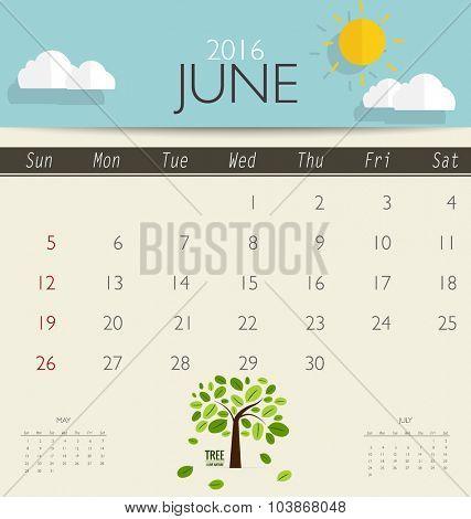 2016 calendar, monthly calendar template for June. Vector illustration.