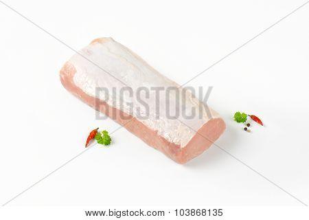 raw pork tenderloin on white background