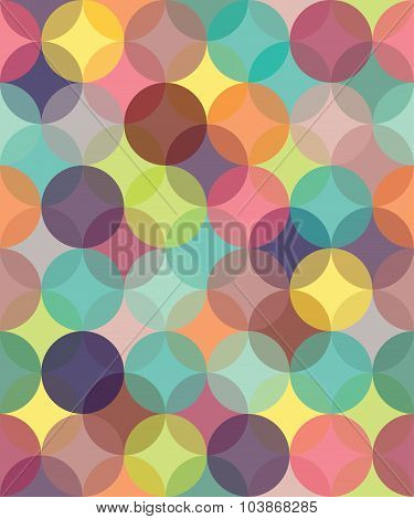 Vector Modern Seamless Colorful Geometry Pattern Circles Overlapping