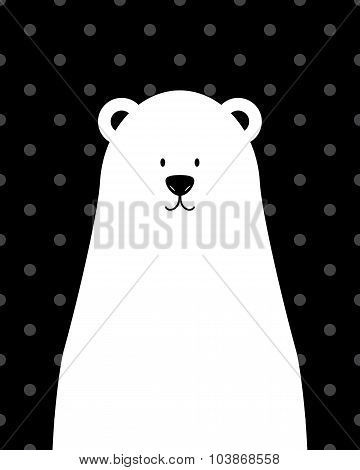 Vector cute white polar bear