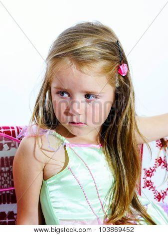 Crying Cute Little Girl With Focus On Her Tears On White Background