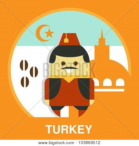 Turkish Man in National Costume Vector Illustration